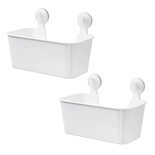 LIKERAINY Duschkorb mit Saugnapf für Küche Wirtschaftsraum Badezimmer Kunststoff Cremeweiß 2 Stück