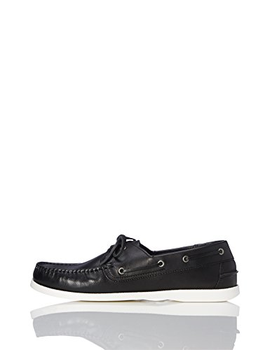 find. AMZ038_Leather, Herren Segelschuhe, Schwarz/White, 47 EU (12 UK)