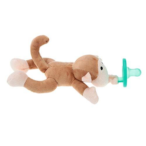 Carolilly Chupetes de dibujos animados, chupetes para bebés con peluche para recién nacidos, juguete de silicona (mono, 7 cm x 3)