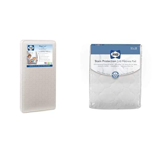 Sealy Baby Flex Cool 2-Stage Airy Dual Firmness Waterproof Standard Toddler & Baby Crib Mattress and Stain Protection Waterproof Fitted Crib Mattress Pad