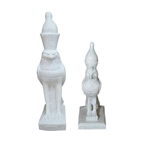 Horus, Dios Halcón, Dios de la Fuerza y protección, 2 Figuras de Diferentes tamaños, de mármol Hechas a Mano en Egipto