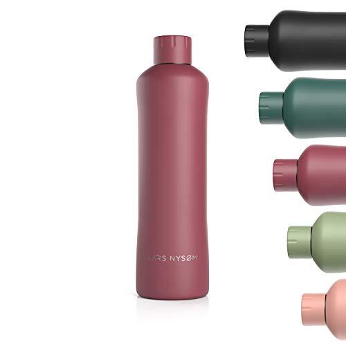 LARS NYSØM Trinkflasche Edelstahl 1000ml | BPA-freie Isolierflasche 1 Liter | Auslaufsichere Wasserflasche für Sport, Fahrrad, Hund, Baby, Kinder | Thermosflasche