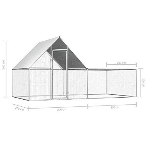 Festnight Hühnerstall 4 x 2 x 2 m (B x T x H) Verzinkter Stahl