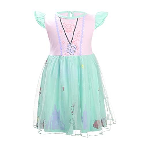 Lito Angels - Costume da principessa Ariel per bambine, Vestito Sirenetta per Halloween e festa di compleanno, Gonna Tulle, Taglia 4-5 anni, Rosa Verde 266