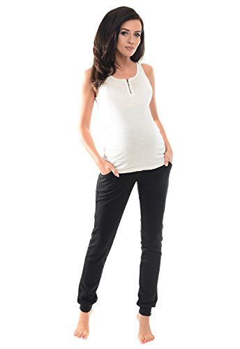Purpless Damen Schwangerschafts Jogginghose Umstands-Sporthose Schwangerschaftshose mit Bauchband Umstandsmode 1307 (40, Black)