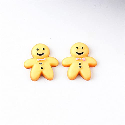 WQDWF 10PCS simulated biscuit smiley doll resin earring charm pendant found Diy craft cute mobile phone case jewelry making,with hook