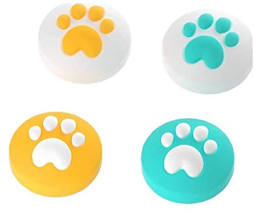 lujiaoshout Botón de la Pata del Gato 4pcs Cap Antideslizantes Caps manija Pulgar de Silicona de protección para Nintendo Rocker Cambiar los Accesorios del Juego