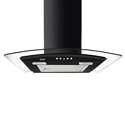 Glen 60cm 1000 m3/h Curved Glass,Wall Mounted Chimney (6071EX, Baffle Filter, Push Button Control, Black)