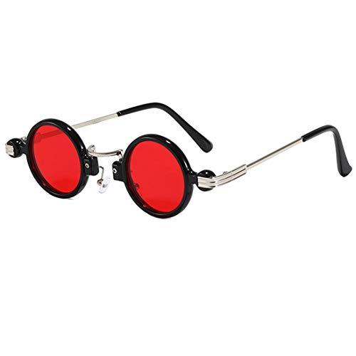 Gafas De Sol Redondas Gafas Retro Hombres Mujeres Gafas De Espejo Gafas De Sol Estilo Steampunk Vintage con Marcos De Metal Protección UV400 Radiación Ultravioleta Gafas Deportivas (Color : Red)