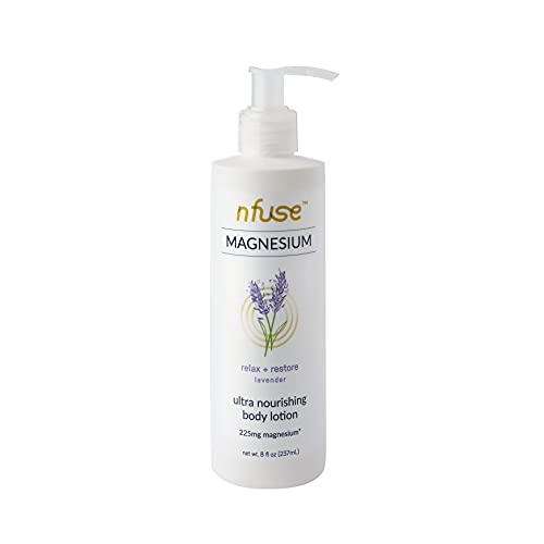 nfuse Magnesium Body Lotion - Mg++ Delivery Technology - Pure Magnesium Chloride U.S.P. - Aromatherapeutic Essential Oils - Lavender: Rest + Restore - Sleep, Stress Relief - 8 oz