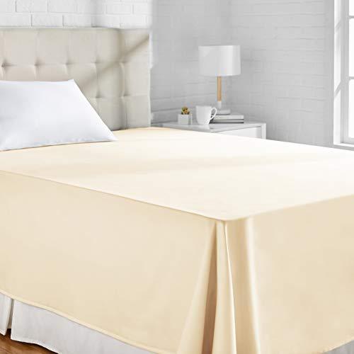 AmazonBasics - Lenzuolo piano, in rasatello di cotone, 400 fili, anti-piega, 180 x 260 + 10 cm - Beige