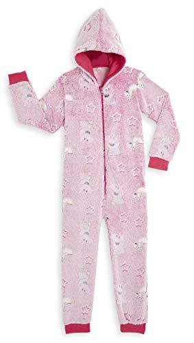 Peppa Pig Pink Schlafanzug Einteiler mit Einhorn Und Sterne Im Dunkeln Leuchtet,Superweiche Fleece Mädchen Pyjama Onesie Jumpsuit Kostüm mit Kapuze,Geschenkideen Für kleine Peppa Wutz Fans (6/7 Jahre)