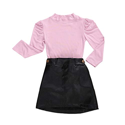 LXXIASHI Toddler Baby Girl Long Sleeves T-Shirt Top + A-Line Leather Skirt Mini Dress Outfits Set (Pink Knitting - Elastic PU, 3-4 Years)