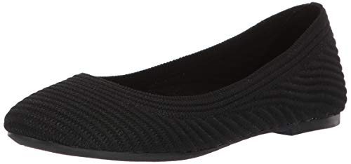 Skechers Women's Casey-Engineered Textured Knit Skimmer Ballet Flat, Black, 9 M US