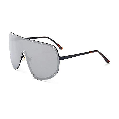Gafas de Sol Sunglasses Gafas De Sol De Gran Tamaño para Mujeres Gafas De Lente Sin Tinte Sin Montura Lentes Transparentes Gafas Mujeres Lentes Siamesas Gafas Uñas Gafas De Sol Steampunk C5