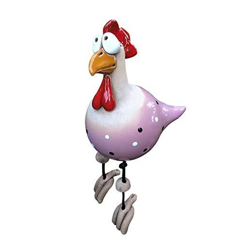Decoración de jardín de gallina, hecha a mano, estatua decorativa de gallina, decoración de jardín, decoración de gallina, gallina, pájaro, asiento lateral para interior y exterior (C)