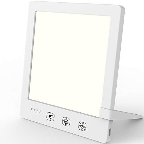 Nertpow - Lámpara de luminoterapia de 12000 Lux, LED sin UV con brillo y temperatura de color ajustables, temporizador, control táctil, función de memoria, tamaño compacto para casa o oficina