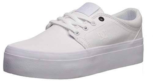 DC Women's Trase Platform TX Skate Shoe, White/White/Black-110, 5 M US