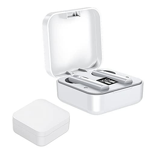 Auriculares Bluetooth, intrauditivos Bluetooth 5.0 inalámbrico con funda de carga rápida, micrófono incorporado, control táctil, IPX7 impermeable, 25 horas de reproducción (blanco)