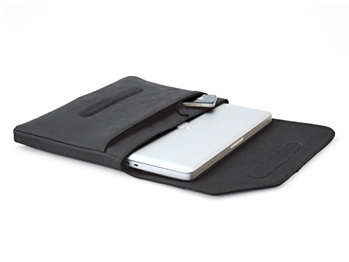 COOL BANANAS Oldschool schlanke Umhängetasche MacBook Pro 15 Zoll (auch Late 2016 Touch Bar) | Tasche aus hochwertigem Kunstleder | Hülle im Retro-Look für Sie und Ihn | Sleeve in Schwarz