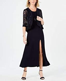 R&M RICHARDS Womens Navy Sequined Lace 3/4 Sleeve Scoop Neck Maxi Empire Waist Evening Dress US Size: 12