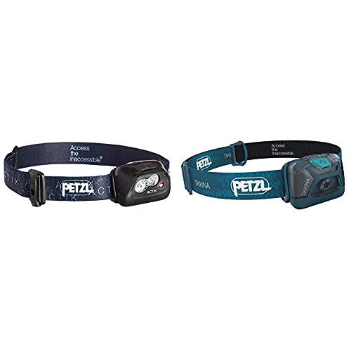 PETZL Actik Linterna Frontal, Unisex Adulto, Negro + Tikkina Linterna Frontal, Unisex Adulto, Azul
