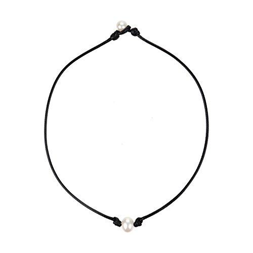 Legitta Damen Halskette Choker Leder Kette mit Anhänger Süßwasser Zuchtperle Perlen 10mm-EA0021-16