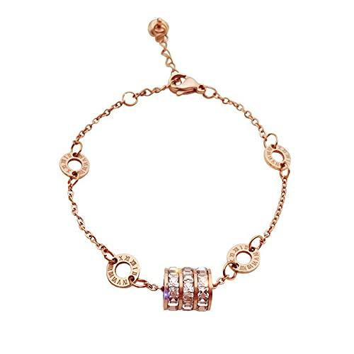 woyada Pulsera de acero de titanio con cristales brillantes ajustables para mujer, colección de joyas