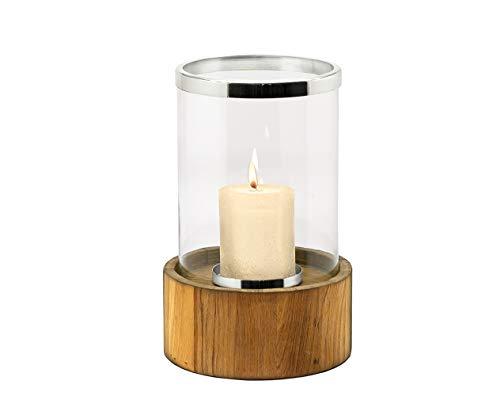 Edzard Lanterne Frisco en Teck, pour extérieur, Hauteur 45 cm, diamètre 27 cm