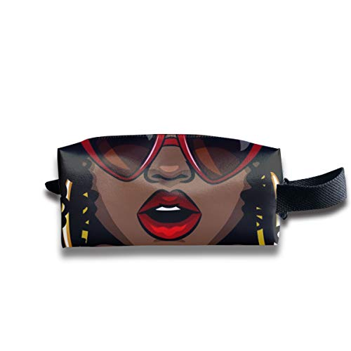 Travel Toiletry Pouch African Woman Eating Burger Kit Make-up Bag with Handle