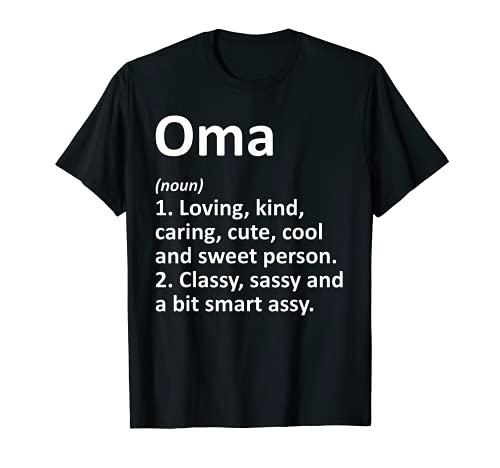 OMA Definición Personalizada Nombre Divertido Regalo de Cumpleaños Idea Camiseta