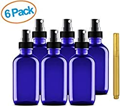 Culinaire 6 Pack Of 4 oz Blue Glass Bottles with Spray Tops and Gold Glass Pen