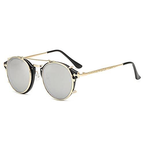 WQZYY&ASDCD Gafas de Sol Gafas De Sol con Clip Hombres Mujeres Gafas De Moda Gafas De Sol De Moda Retro Vintage Oculos Uv400-03_Black-Silver