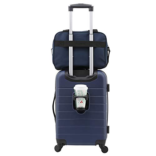 Wrangler 2 Piece Smart Spinner Carry-On Luggage Set, Navy Blue