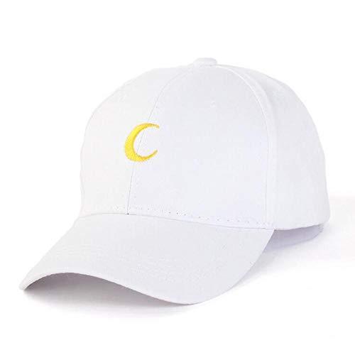 Moon Printing Stickerei Baumwolle Baseball Cap Snapback Hip Hop Flacher Hut Einstellbare Größe 56-60 cm Weiß