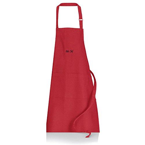 Winkler - Tablier de cuisine - Tablier de cuisine réglable - Tablier pour la cuisine - Tablier barbecue - Tablier 100% Coton - 52 x 71 - Rouge - Petit Chef