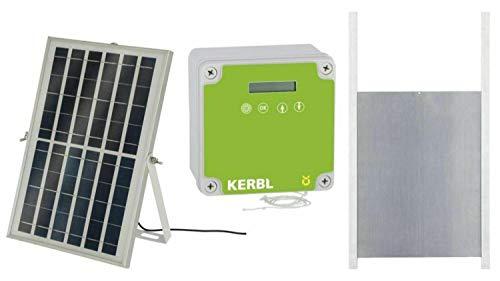 Cajou Automatische Solar-betriebene Hühnertür, Hühnerklappe mit Lichtsensor und Zeitsteuerung (mit Schieber 22 x 33 cm)