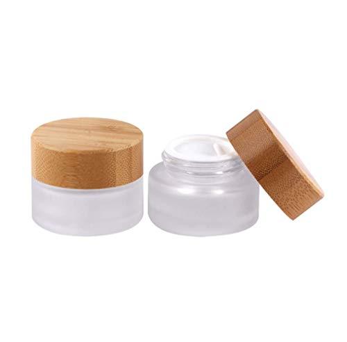 VASANA 2 Stück 30 ml/30 g/1 oz Umweltfreundlicher Bambusdeckel Milchglas-Flasche Cremedöschen leere Kosmetikbehälter für Gesichtscreme, Augencreme, Lippenbalsam, Salben, Nagelpulver