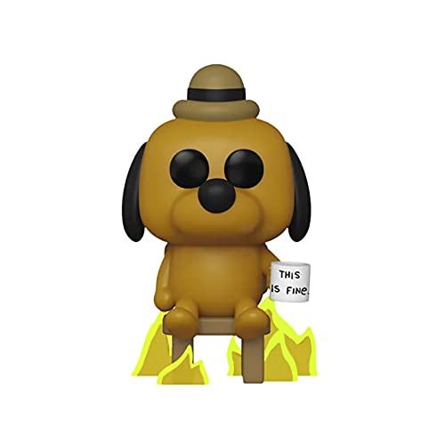 Figura de vinilo de Funko Pop! con diseño de un perro con taza con texto «This is fine»,...