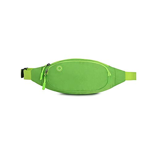 Qisiewell Bauchtasche Gürteltasche Laufgürtel Mode Wander-Hüfttasche Sport-Bauchtausche wasserdichte 698 Nylon Grün 4 Fächer Reißverschluss Mit Kopfhöreröffnung und Verstellbarer Gurt.