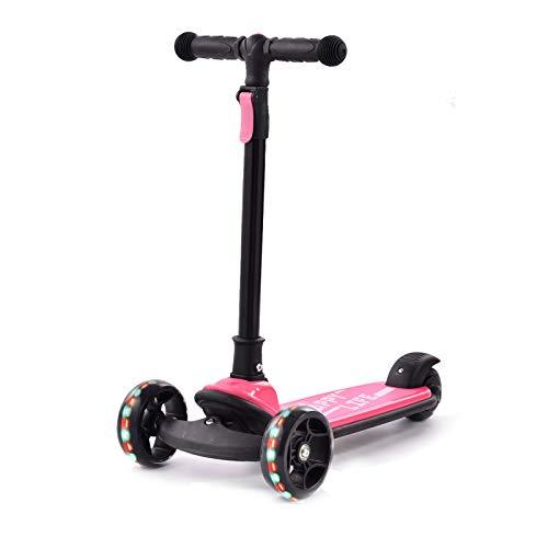 Bellanny Scooter para niños con ruedas de destello Scooter para niños de 3 a 8 años, altura ajustable, 3 ruedas, cubierta extra ancha para niños de 3 a 8 años, color rosa