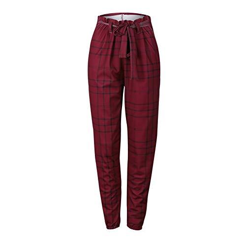 Duevin dames casual broek Britse Vendimia slim broek rood geruit aantrekkelijk gesneden broek - - M
