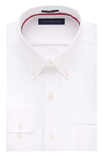 TOMMY HILFIGER Men's Non Iron Solid Button Down Collar, White, 16.5
