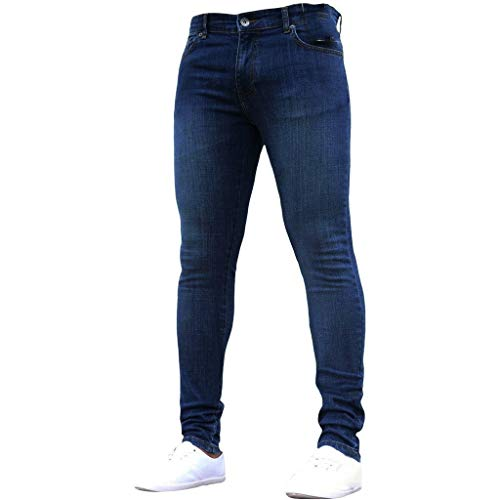Aoogo Herren aus einfarbigem Denim Schlanke Hose, Herren Pure Color Denim Baumwolle Vintage Wash Hip Hop Arbeitshose Jeans Hosen