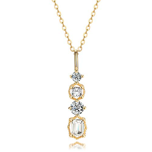 925 Silver Crystal Pendant 14k gold-plated necklace temperament wedding Gold45CM