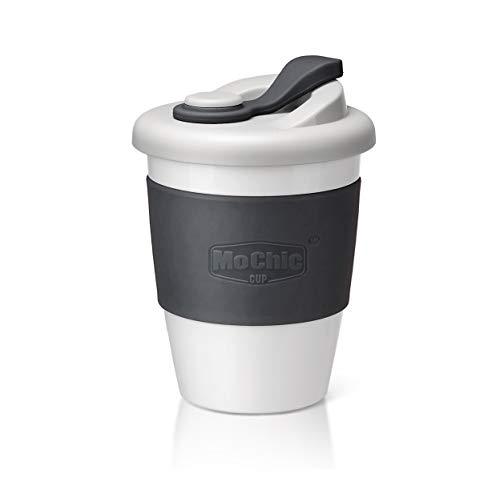 SLOSH Taza Cafe para Llevar Viaje Mug Café Desayuno Reutilizable con Tapa Sin Bpa Vasos De Café Coffee To Go Taza Yoga Coche Oficina Portatil Regalo (Gris)