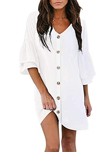 AlvaQ Women Ruffle Bell Sleeve V Neck Botton Down Shift Dress Summer A Line Swing Mini Skater Dresses White Large (Apparel)