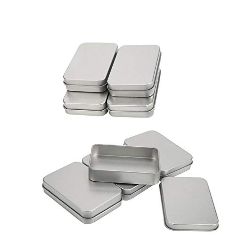 Ritte 8 Piezas Mini Caja De Metal Portátil, Latas Rectangulares Vacías, Caja Contenedores Rectangulares Plata para Uso Bricolaje, Organizador para El Hogar, Caja Dulces (8.8x6x1.8cm)