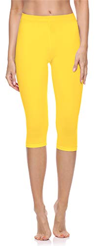 Merry Style Damen 3/4 Leggings MS10-199 (Gelb, XL)