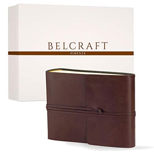 Vietri Fotoalbum aus recyceltem Leder, Handgearbeitet in klassischem italienischem Stil, Geschenkschachtel inklusive, A5 (16x21 cm) Braun